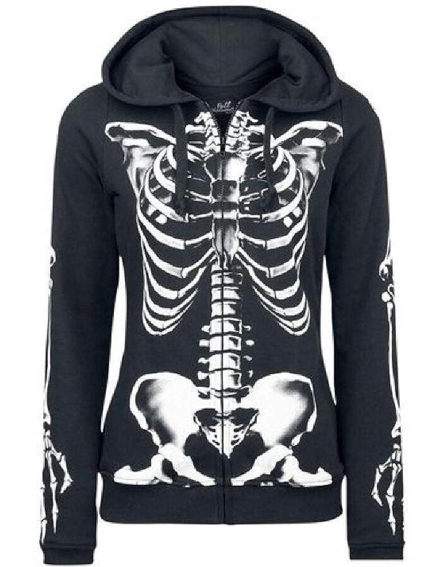 WSPLYSPJY Womens Casual Skull Print Hoodie Fashion Zipper Hooded Coat