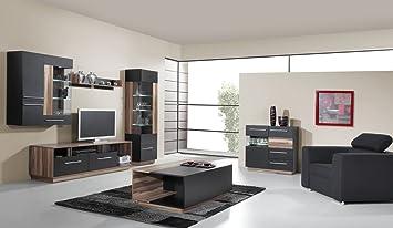 Wohnzimmer Komplett Set D Tinlot 5 Teilig Schwarz Walnuss