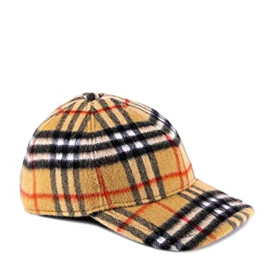 761fa63f1 Burberry Men's Antique Check Wool Baseball Cap Hat Ivory at Amazon ...