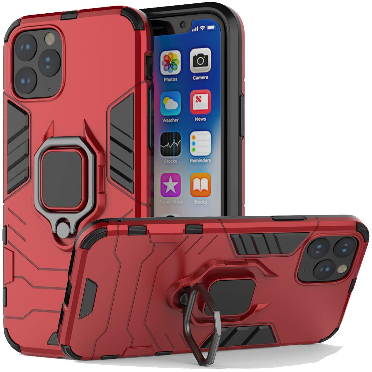 iPhone 11 Pro Case, Futanwei Rugged Metal [Fit Magnetic Car Mount] Rotating Ring Kickstand Phone Case, Double Layer Hybrid Anti-Fall Shockproof Armor Cover for iPhone 11 Pro 5.8 Inch, red by Futanwei