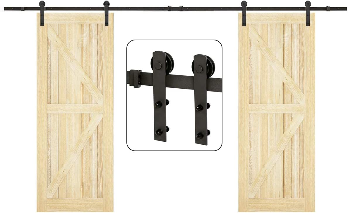 U-MAX 13 FT Heavy Duty Double Door Sliding Barn Door Hardware Kit - Smoothly and Quietly -Simple and Easy to Install - Fit 30