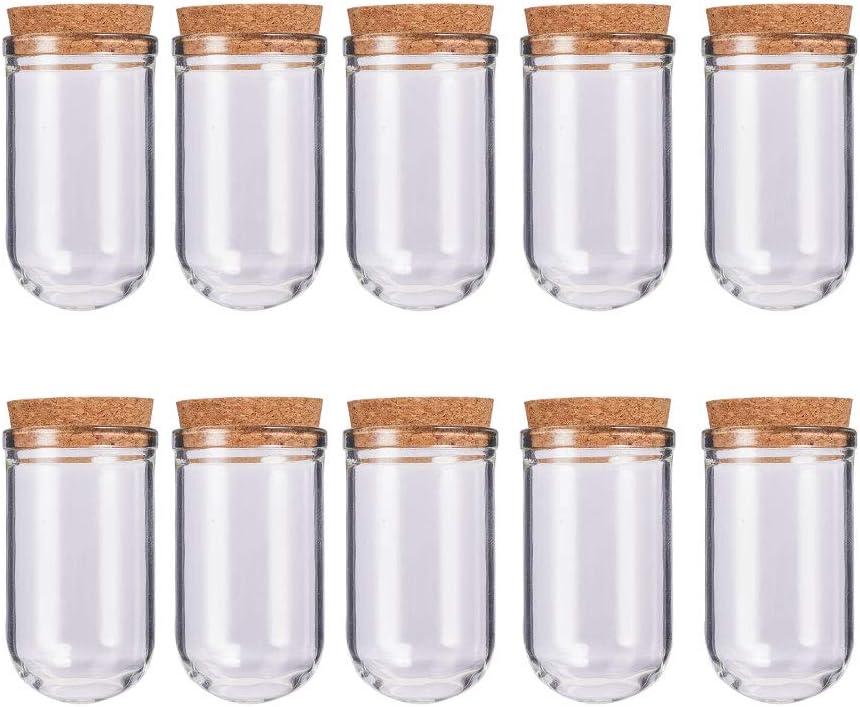 BENECREAT 32 Pack 15ml Botella de Vidrio de Fondo Redondo con Corcho para Manuaildad de Artesanía Decoración de Boda y Fiesta 43x21mm