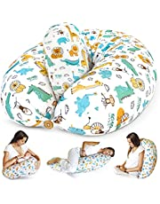 Bamibi® Graviditetskudde och omvårdnadskudde - Multifunktionell Helkroppsstöd Mammakudde för sovande och ammande barn med avtagbar 100% bomullsöverdrag plus innerkudde