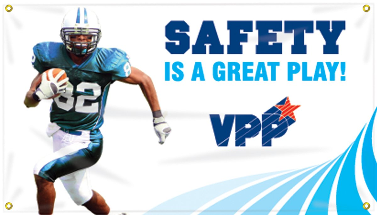 with Football Graphic Accuform MBR471 Motivational VPP Safety Banner LegendSAFETY IS A GREAT PLAY 28 Length x 4-ft Width Reinforced Vinyl with Metal Grommets