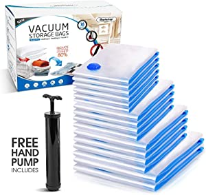 Masthome Vacuum Storage Bags with Hand Pump 16PCS Reusable Waterproof Space Saver Bags for Clothes,Travel