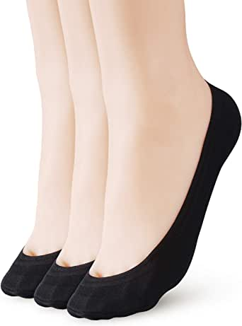 3-6 Pairs Women's No Show Socks Non Slip Cotton Invisible Hidden Thin Liner Socks for Flats