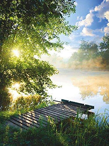 Artland Qualitätsbilder I Glasbilder Deko Glas Bilder 60 x 80 cm Landschaften Gewässer Foto Grün C8UR Angelsteg am Fluss am Morgen
