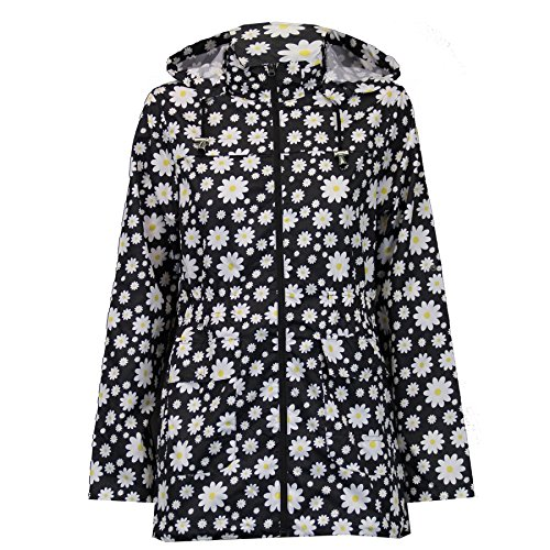 NEW WOMENS LADIES FISHTAIL DAISY LIGHTWEIGHT PARKA RAINCOAT SIZES 8-16-Floral - Black-UK 14 (100% Polyester)