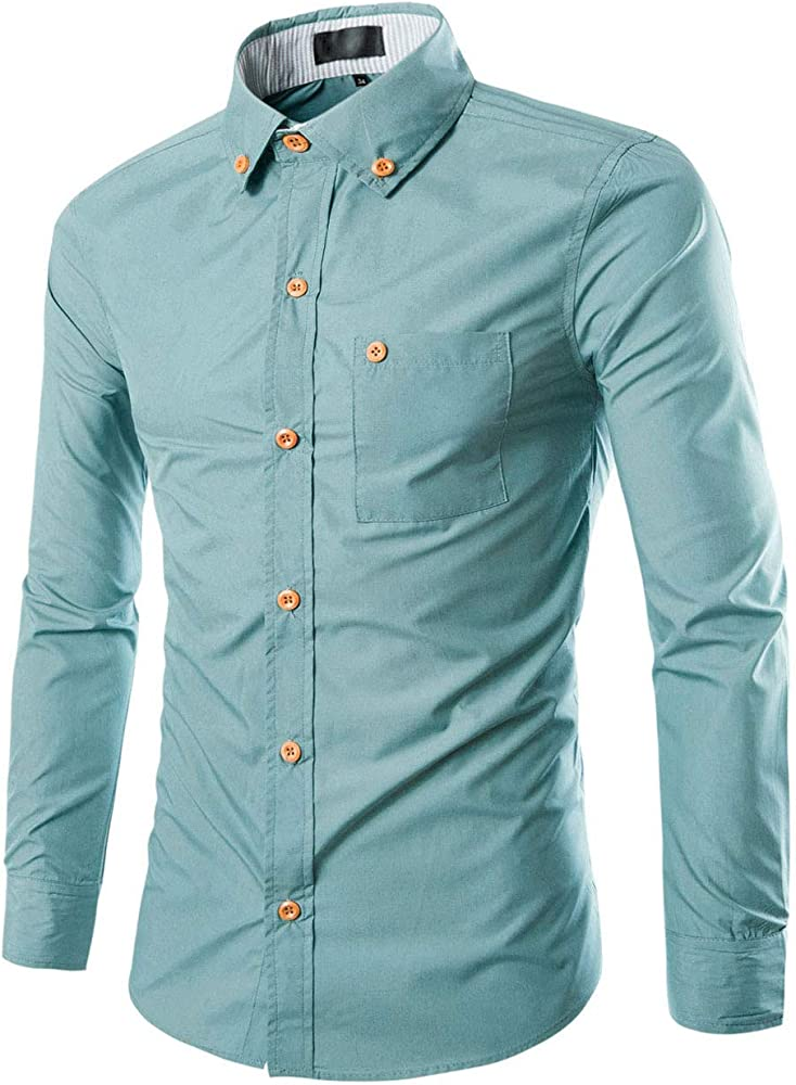 Allegra K Camisa para Hombres Cuello En Punta De Manga Larga Casual - Verde/S (US 36),S (EU 46): Amazon.es: Ropa y accesorios