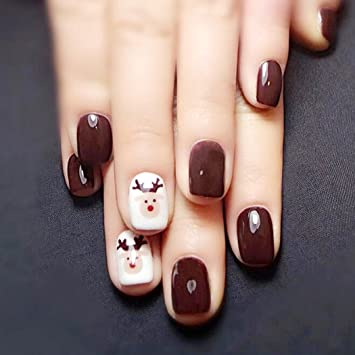 Yean False Nails 24Pcs Set Fake Bridal Full Cover Short Coffee Color Square Nail