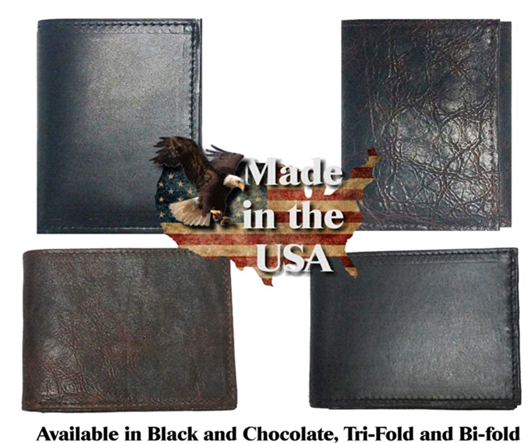 Proudly made in the USA. Custom Fancy Gold Star Concho on a Black Harness Leather Bi-fold Wallet
