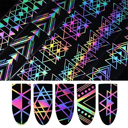 BORN PRETTY 1 Roll Nail Art Holographic Foil Laser Sticker Geometric Triangle Manicure Starry Sky Transfer Decals 5 Patterns -