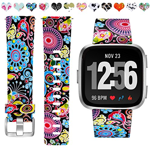 Maledan Band Compatible with Fitbit Versa, Water Resistant Breathable Strap Wristbands Compatible with Fitbit Versa Fitness Smart Watch, Colorful Jellyfish, Large