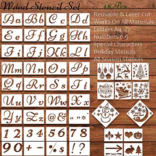 Letter Stencils,Christmas Stencils for Painting on Wood, Reusable Stencil for Christmas Decor Fabric Canvas Wall Painting Templates Holiday Plastic Art Craft Stencils(48 PCS) (Christmas Alphabet Stencils)
