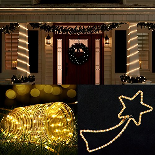B-right 46ft Rope String Lights, Battery Powered Remote 8 Modes/Dimmable/Timer, Waterproof Decorative Lights for Bedroom Patio Festival Party Garden Tree (Warm White) by B-right (Image #2)
