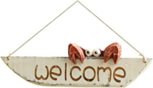D-Fokes Vintage Hanging Decor Crab Welcome Sign Door Hanging Home Decor Creative Wall Decoration