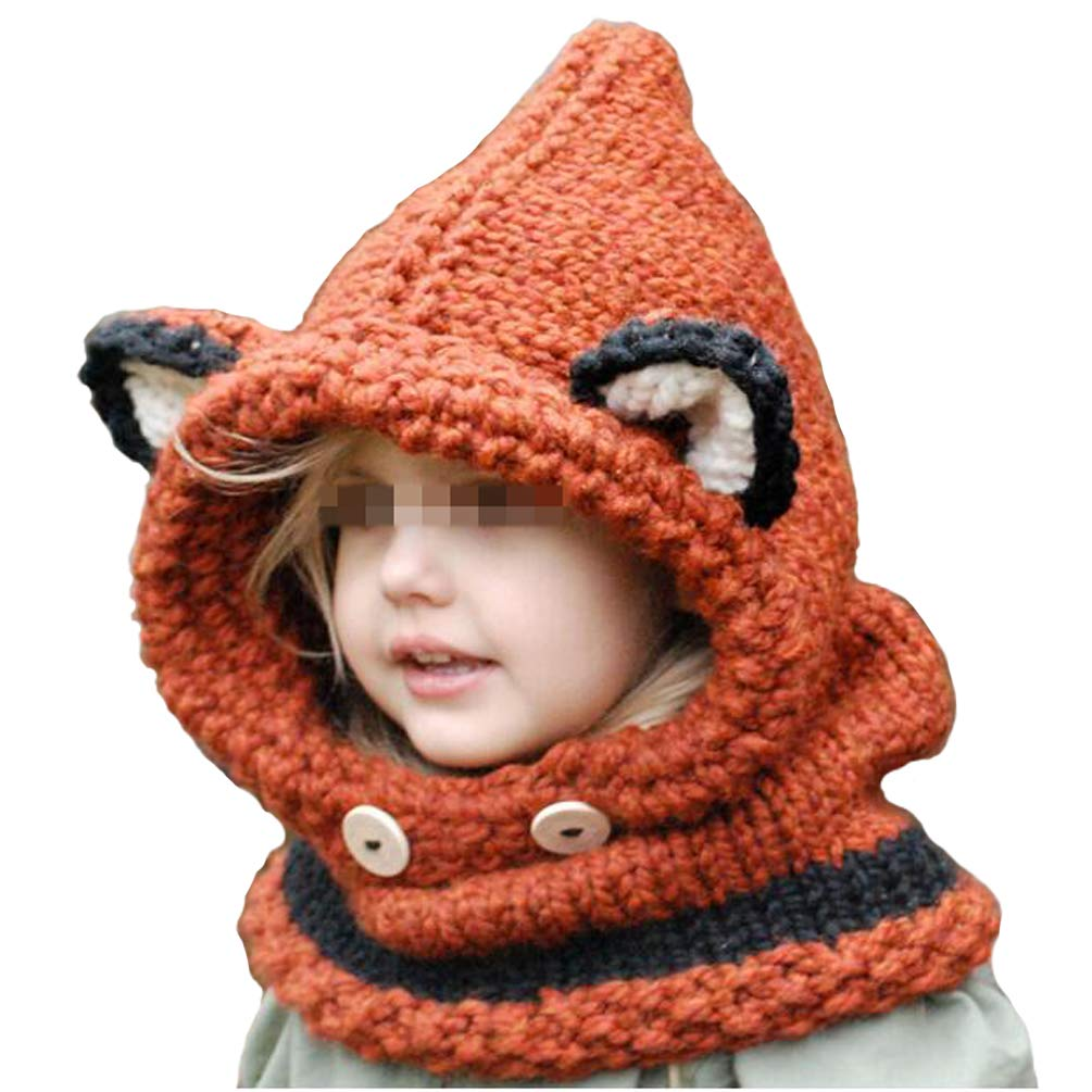Flyusa Children Fox Wool Knitted Hat and Scarf Set Hood Scarves for Under 10 Years Old Kids Boys Girls,Orange,S