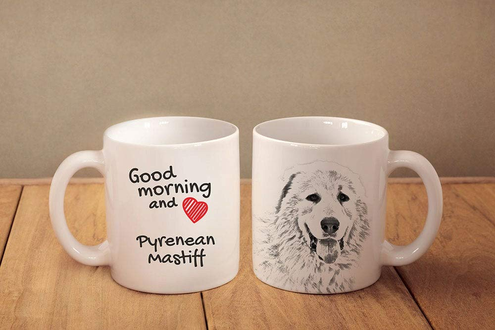 "Pyrenean Mastiff- a mug with a dog.""""Good morning and love."""". ceramic mug. NEW COLLECTION! Dog Lover Gift, Christmas Gift 1"
