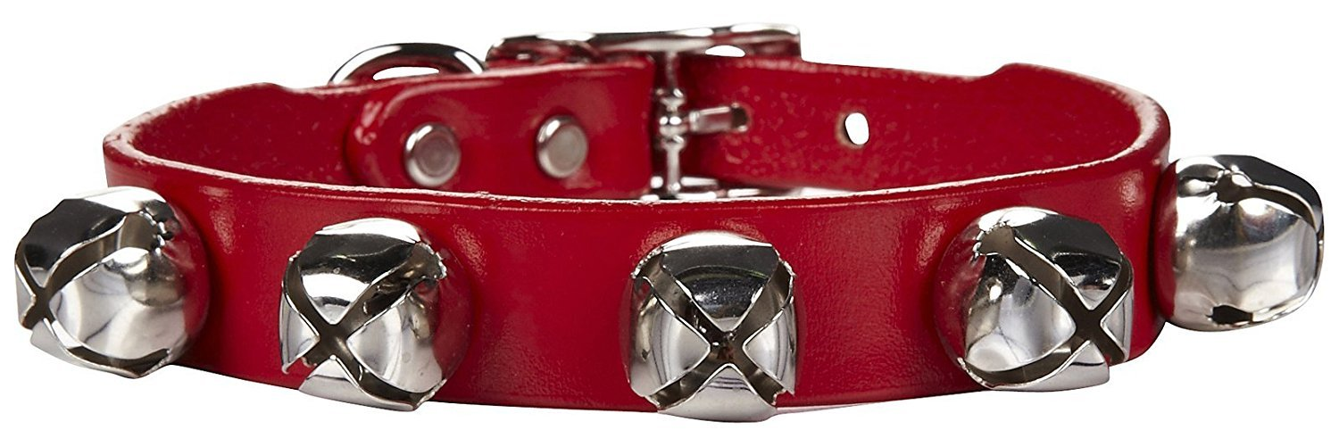 Auburn Leathercrafters Jingle Bell Dog Collar 3 8x12 RED