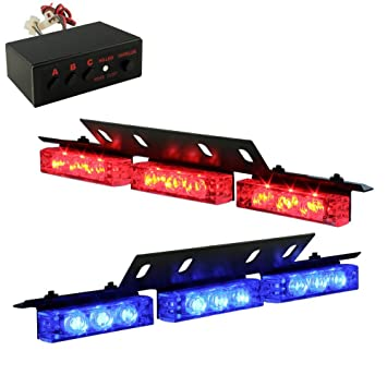 Amazon 18 x ultra bright blue and red led emergency warning use 18 x ultra bright blue and red led emergency warning use flashing strobe lights bar for aloadofball Image collections