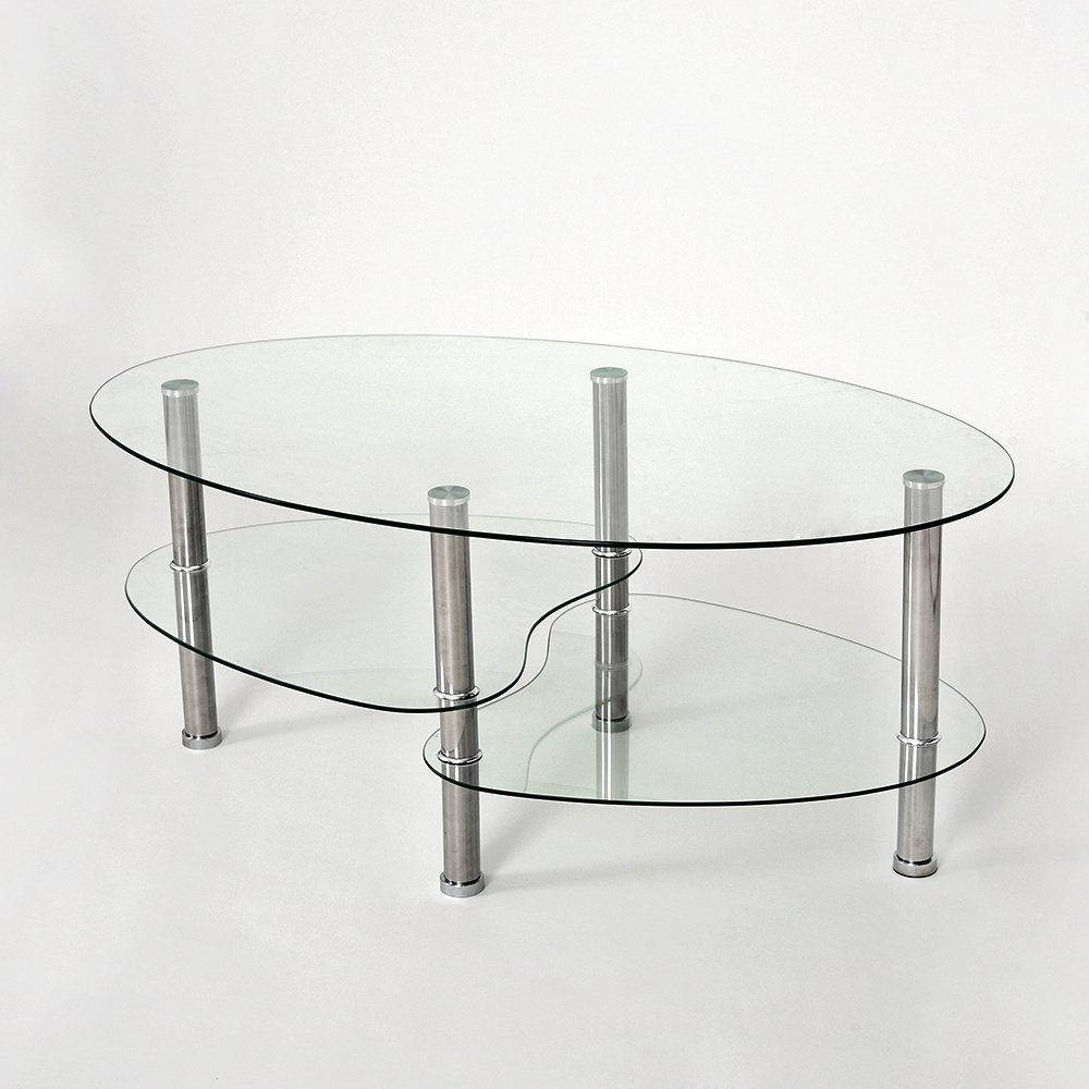 Coffee Table Nest of Tables Clear Glass Chrome Oval Set Home Storage furniture-uk-shop