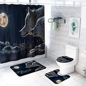 Lovt 4PCS Shower Curtain Set for Bathroom, Wolf/Tiger Shower Curtain, Animal Themed Polyester Fabric Waterproof Bathroom Curtains,Bathroom Accessory Sets