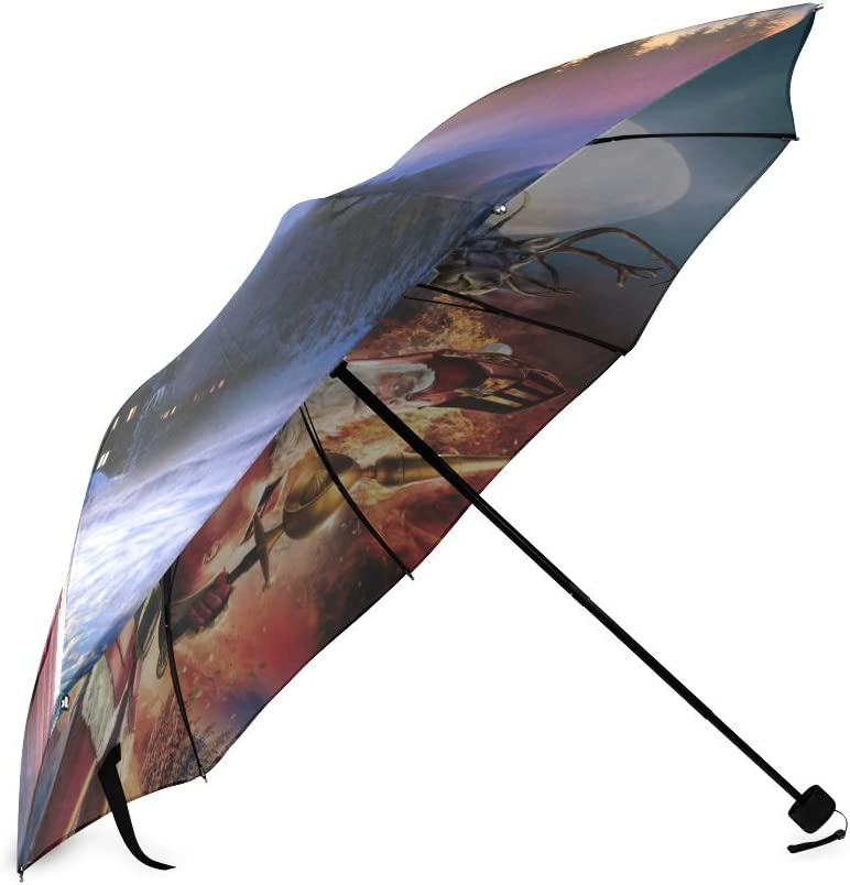 Custom Santa Claus Compact Travel Windproof Rainproof Foldable Umbrella