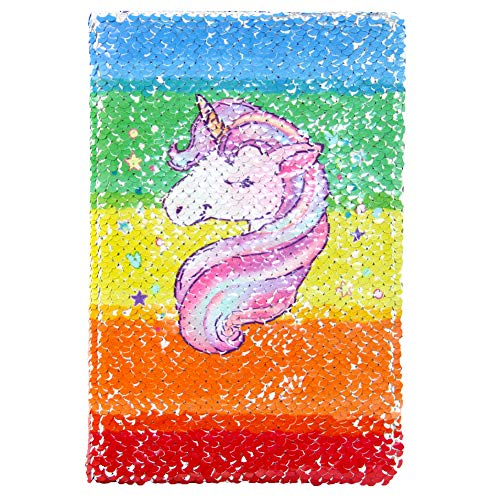 Beinou Unicorn Notebook, Reversible Sequin Notebook Magic Journal for Kids Adults Rainbow-Silver Sequin Diary Mermaid Notepad for Festival Birthday Gifts -
