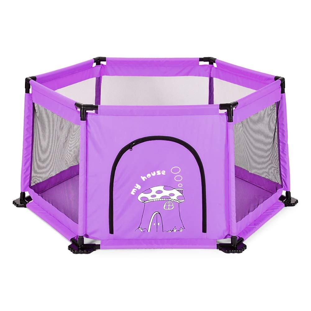 ベビーサークル 幼児のための6パネルチャイルドセーフティプレイフェンスPlayard屋内、安全な高さ65cm、効果的にあなたの赤ちゃんが横断するのを防ぐ (色 : Purple)  Purple B07KVJCML9