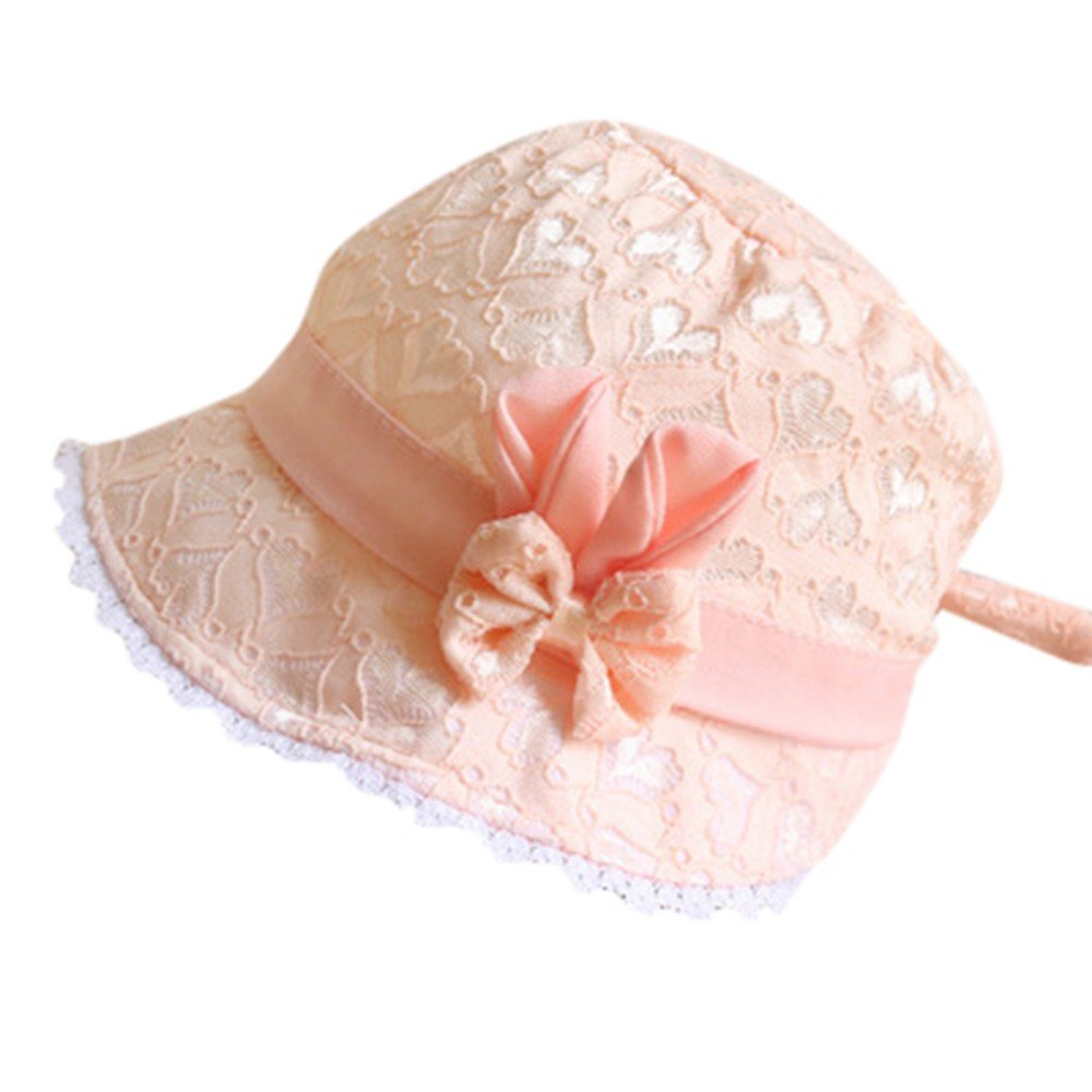 ❤️ Mealeaf ❤️ Baby Toddler Girls Summer Cartoon Hat Infant Peach Heart Printing Cap(Orange,)