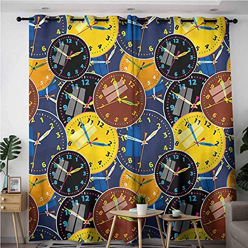 Tech 12' Wall Clock - Oncegod Home Curtains,Clock Clock Faces Pattern,for Bedroom Grommet Drapes,W84x84L