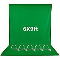 Neewer 6x9 feet/1.8x2.7 Meters Green Muslin Backdrop with 5 Pieces Ring Metal Holding Clips for Photo Video Studio, Ideal for Portraits and Product Shooting