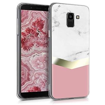kwmobile Funda para Samsung Galaxy J6 - Carcasa de [TPU] para móvil y diseño de mármol clásico en [Blanco/Dorado/Rosa Palo]