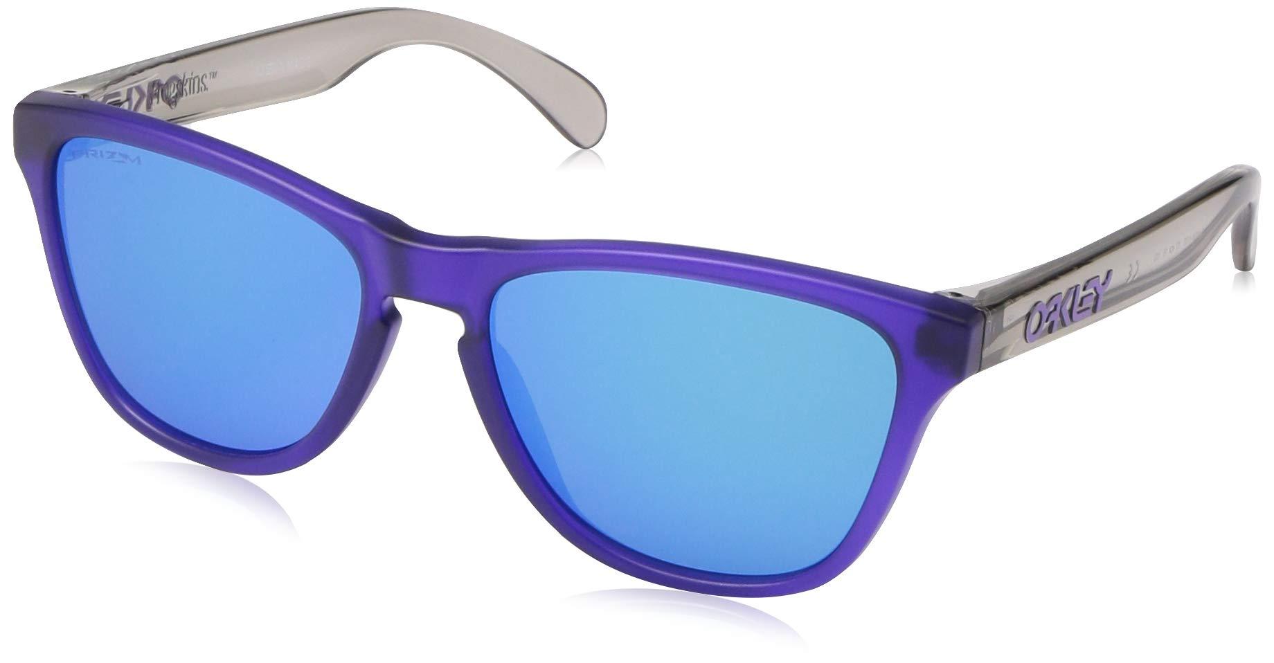 Oakley Youth Boys OJ9006 Frogskins XS Round Sunglasses, Matte Translucent Purple/Prizm Sapphire, 53 mm