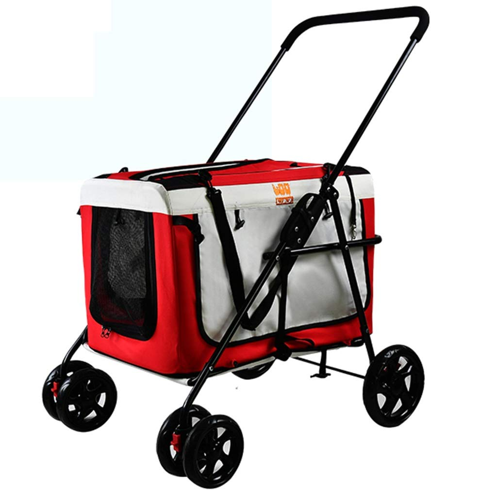 Red MZP Separate Wheeled Trolley Pet Dog Cat Animal Stroller Pushchair Suspension Large 360 Degree redatable Cup Holders Storage Basket Load Within 20 kg Netted Windows Dog Carrier (color   Red)