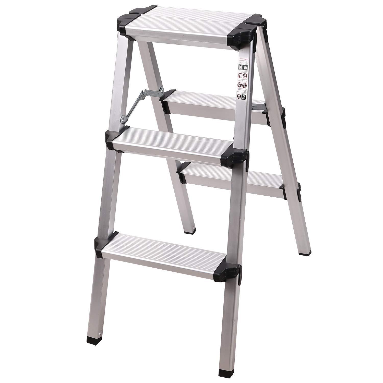 Lightweight Portable Ladder Step Stool White REDCAMP Aluminum Folding Step Ladder 3 Step Sturdy Heavy Duty Step Ladder
