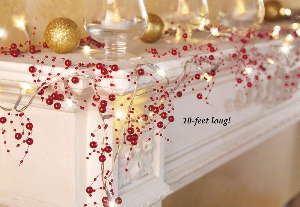 Lighted Berry-Beaded Holiday Garland by Collections Etc Winston Brands
