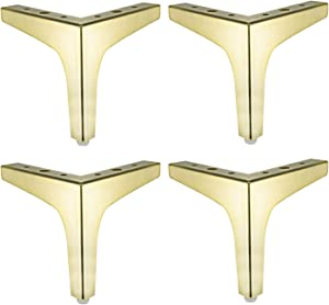 Tulead Triangle Cabinet Feet 4.5-Inch Height Heavy Duty Metal Furniture Legs Golden Sofa Feet with Mounting Screws, Set of 4