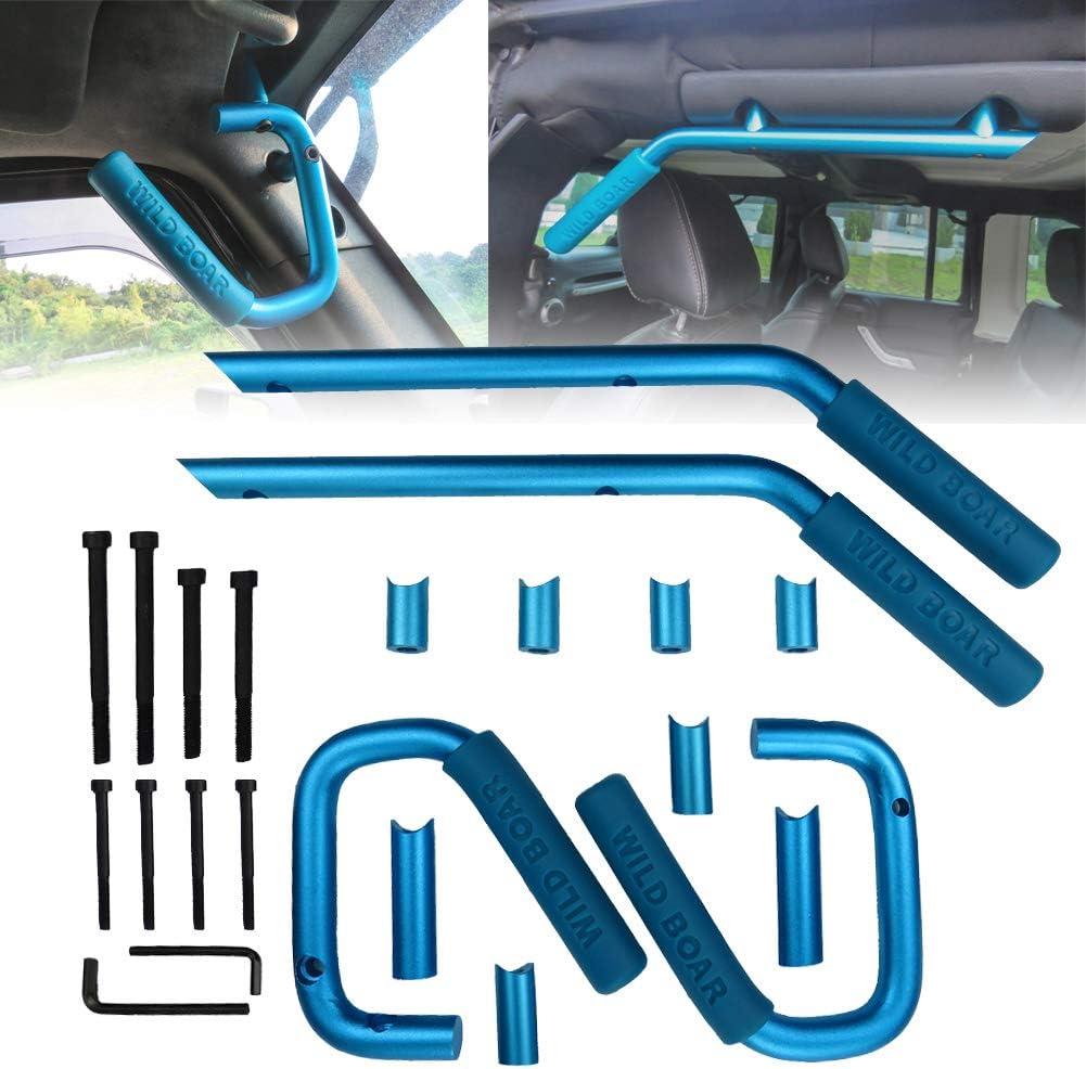 4 Doors Vijay Hunter Blue Wild Boar Grab Handle Jeep Wrangler JK 2007-2017 Unlimited Accessories Brushed Hard Steel Solid Rear Door Handle