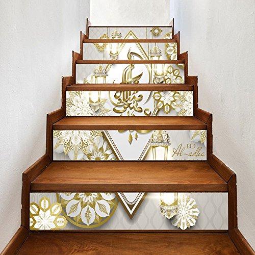 Hongyu Stairs self-adhesive wallpaper Muslim new Ramadan blessing home decoration 3D detachable DIY steps stickers modern HD waterproof stairs wallpaper buy three get one free by Hongyu