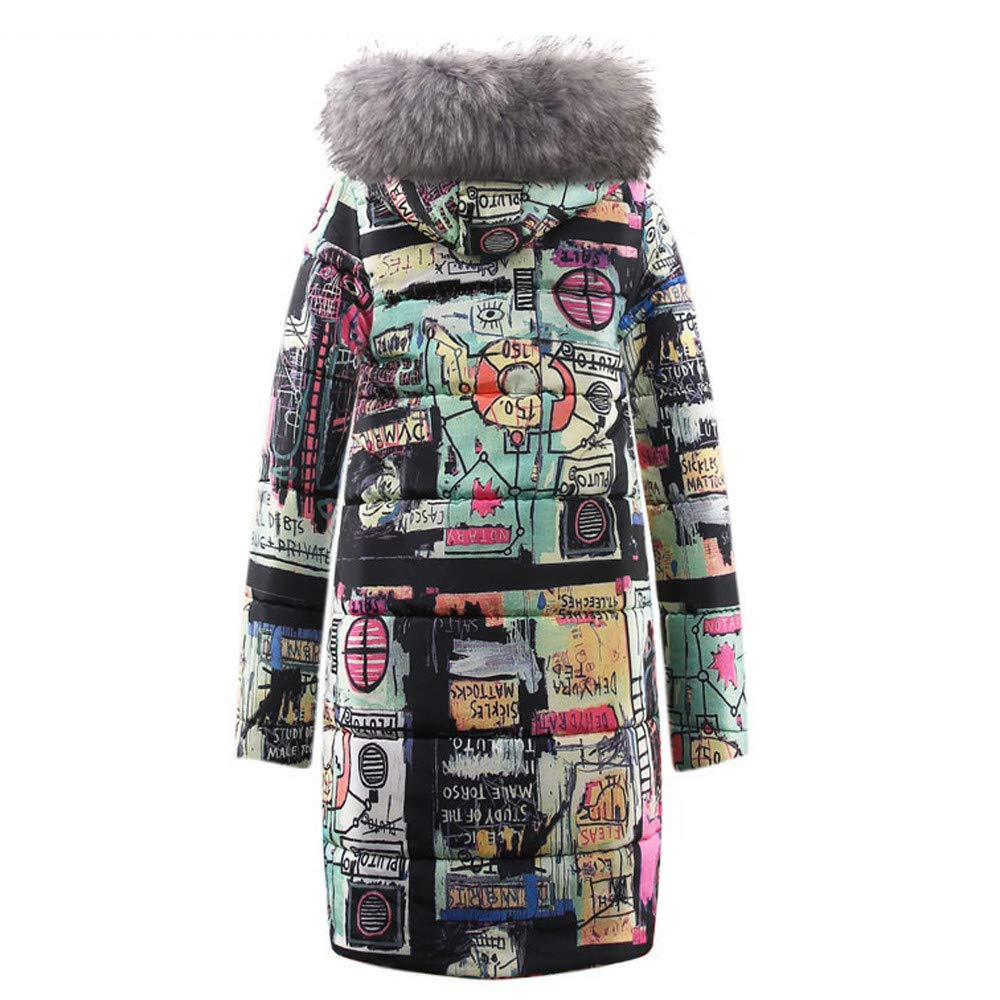 Women Teen Girl's Winter Coat Graffiti Pattern Thick Padded Long Jacket Zipper Parka with Fur Hood by Cuekondy by Cuekondy