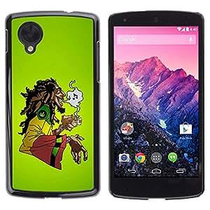 TECHCASE**Cubierta de la caja de protección la piel dura para el ** LG Google Nexus 5 D820 D821 ** Cannabis Weed Hemp Jamaica Bob Music