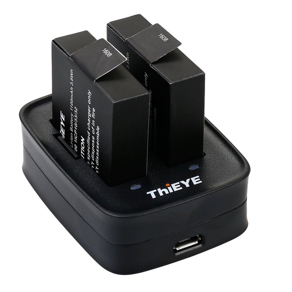 ThiEYE Action Camera T5 Edge, E7, T5e Caricabatterie USB Dual Charging Dock FAZCT5