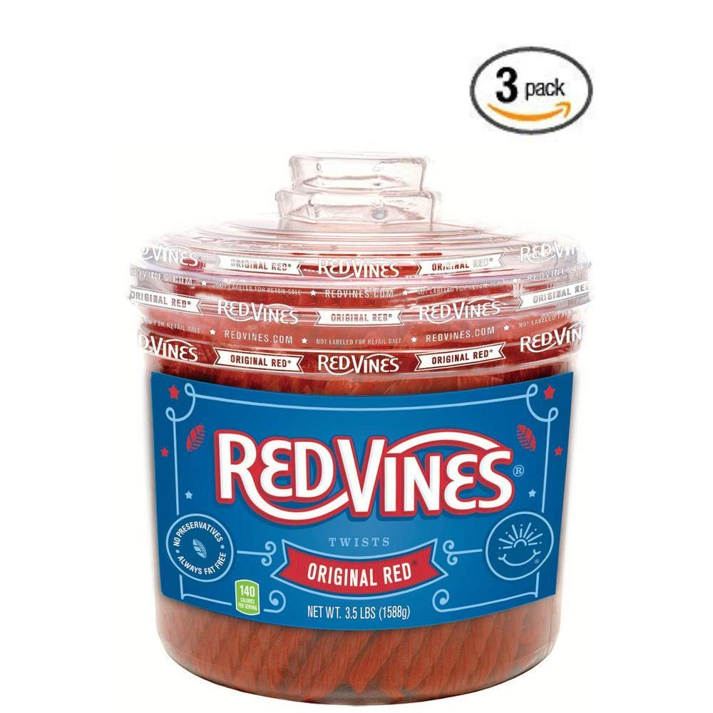 Red Vines Licorice, Original Red Flavor, 3.5LB Bulk Jar, Soft & Chewy Candy Twists - 3 pack