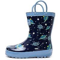 Apakowa Kids Unisex Boys Girls Rain Boots Waterproof Rubber Rain Boots with Easy-On Handles in Fun Patterns (Toddler/Little Kid)