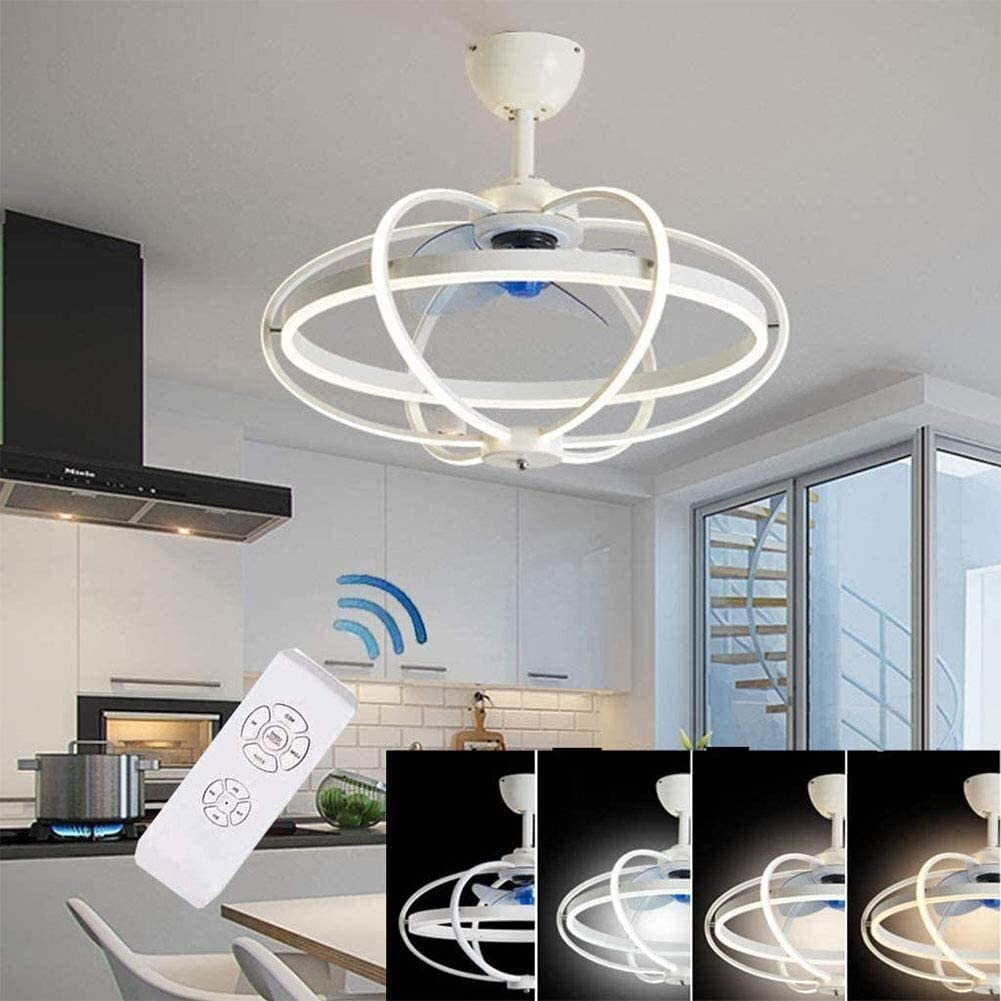 DLGGO Techo moderno de lujo del ventilador con la iluminación regulable LED luz de techo, Ventilador de control remoto ajustable silencioso ventilador de techo, dormitorio nórdica de la sala de niños