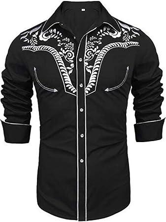 JohnJohnsen Camisas Bordadas de Manga Larga para Hombres Camisa Casual con Botones Ajustados Camisa Regular con Cuello de Punto estándar (Negro): Amazon.es: Juguetes y juegos