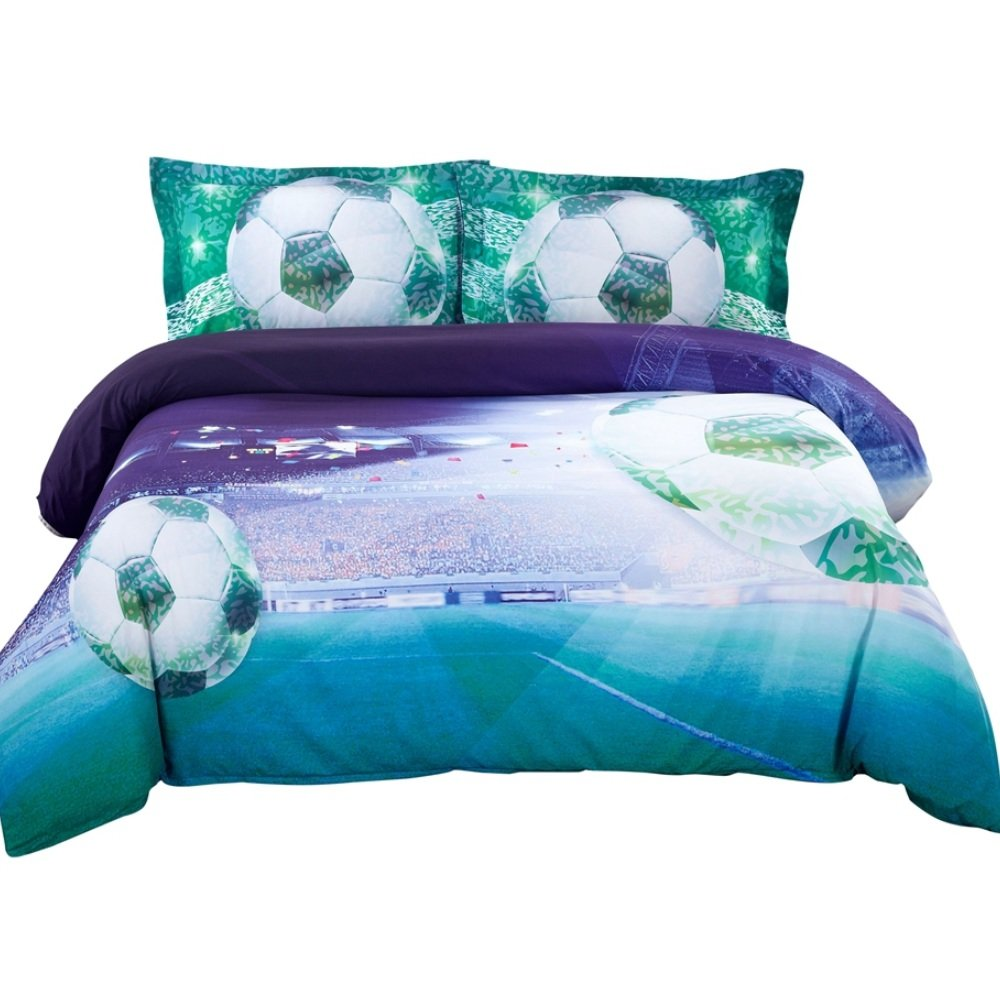Alicemall 3D Bedding Set 3D Soccer Blue and Green Duvet Cover Set 4 Pieces Cotton and Tencel Blended Super Soft Cool Sports Bedding Set, Full Size College Bedding for Girls and Boys (Full, Deep Blue)