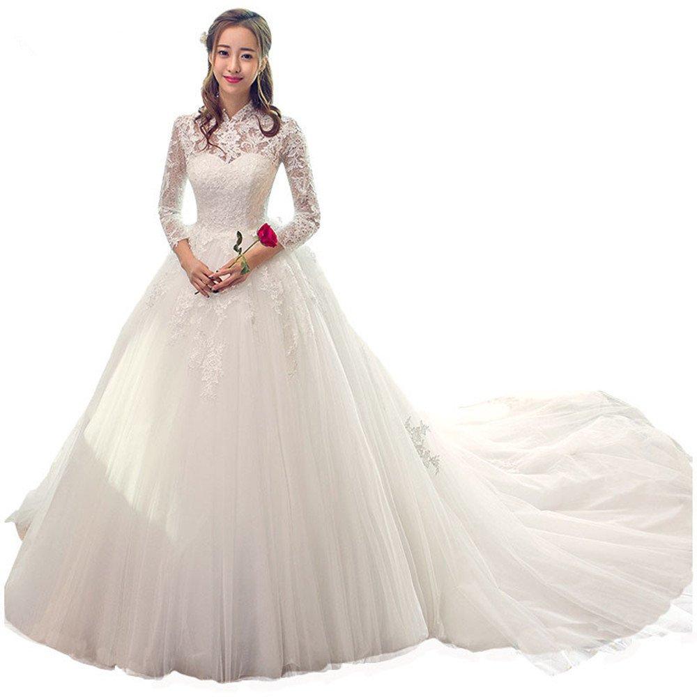 Ydydf New Chinese Style High Collar Full Sleeve Lace Wedding