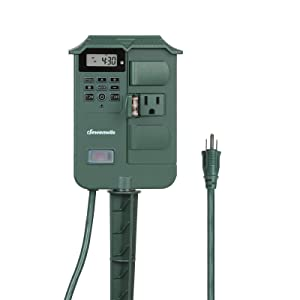 DEWENWILS Outdoor Photoelectric Power Strip, Weatherproof Digital Power Stake Timer Switch, 6ft Extension Cord, 6 Waterproof Grounded Outlets with Cover for Light Fountain Pool Pump, 15Amp,UL Listed